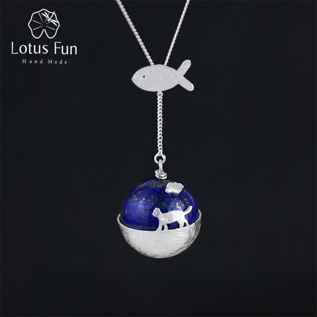 Lotus Fun Real 925 Sterling Silver Natural Lapis Handmade Fine Jewelry Cat's Dream Pendant without Necklace Acessorios for Women