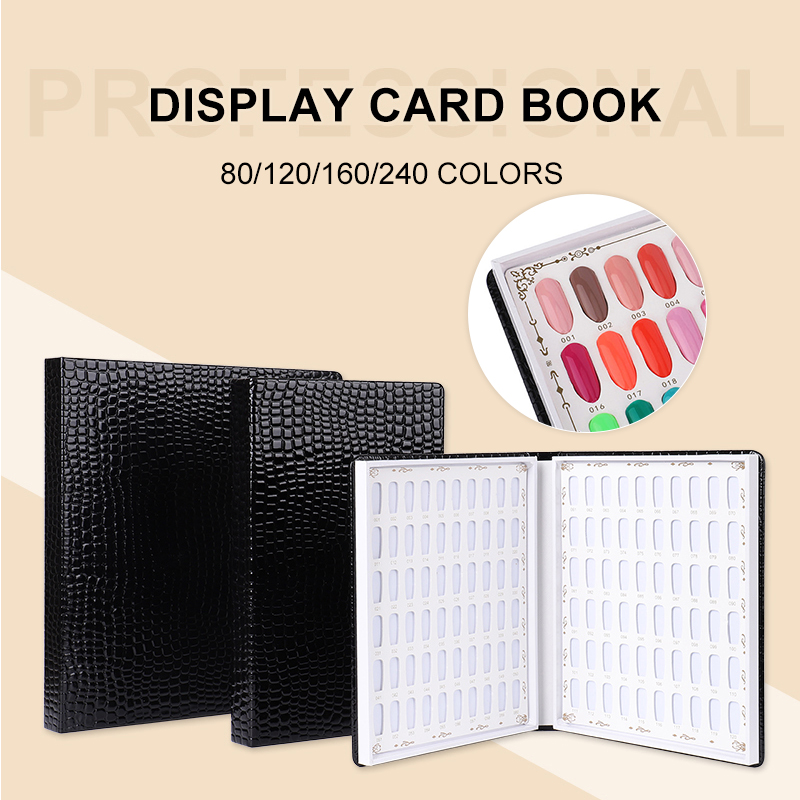15 Sizes Nail Display Book Nail Tips Leather Cover Gel Polish Display Chart Nail Art Salon Tools With False Tips Showing Shelf