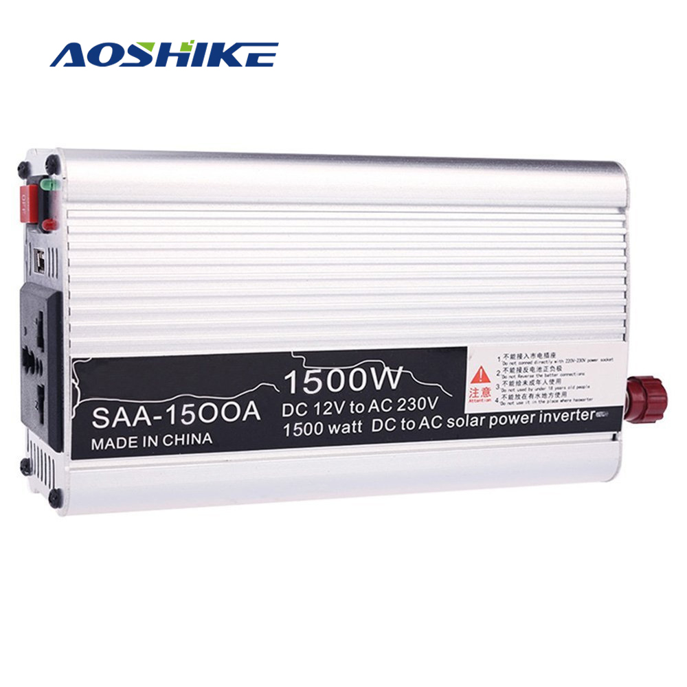 Aoshike Automotive Car Inverter Modified Sine Wave 1500W 12V DC to 110V 220V AC Car Power Converter Adapter USB Charger House