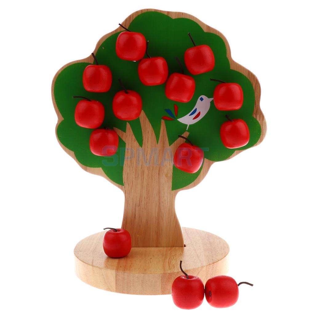 Kids Wooden Educational Toy - Magnetic Apple Tree with 15pcs Apples Counting Game