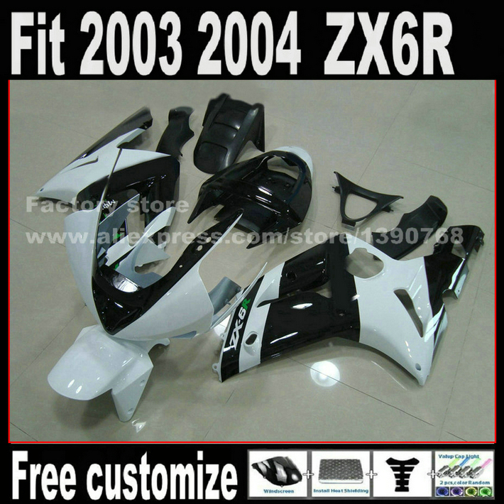 NEW HOT fairing kit for 2003 2004 Kawasaki ZX6R Ninja 636 white black ZX636 ZX 6R