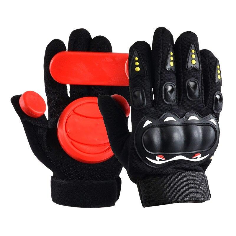 Скейтборд Перчатки слайдер перчатки Черный Красный 3 POM носимые длинные защитные перчатки Экипировка Нескользящая износостойкая защита рук - Цвет: red