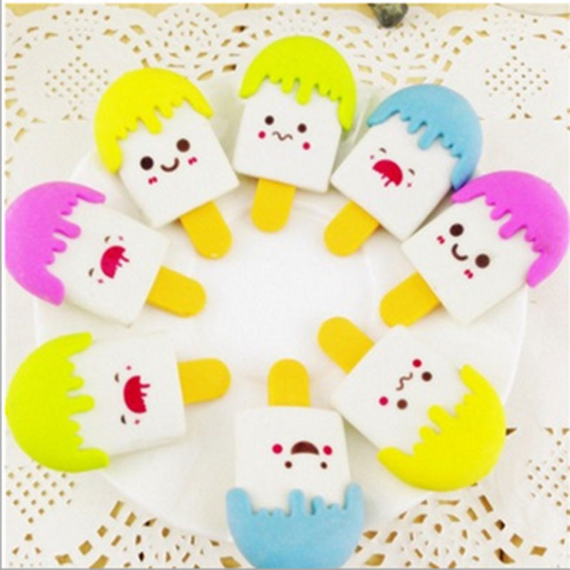 2x Creative Stationery Change Rubbing Children Cute Cartoon Ice Cream Eraser Primary School Prizes School Kawaii School Supplies