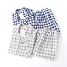Amantes primavera novo conjunto de pijama xadrez 100% gaze algodão masculino e feminino casal pijamas turn down colarinho uso doméstico casual