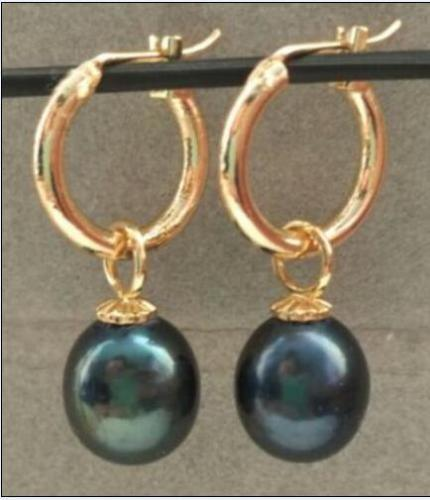 Boucle d'oreille en perle noire de mer du sud AAA 10-13 MM, cerceau en or 14 k/20