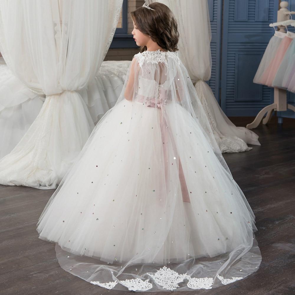 High quality Sleeveless Holy Communion Dresses Cream Kids Floor Length  Ruffles Lace Satin Tulle Ball Gowns. sku  32862224506 4d72362f2986