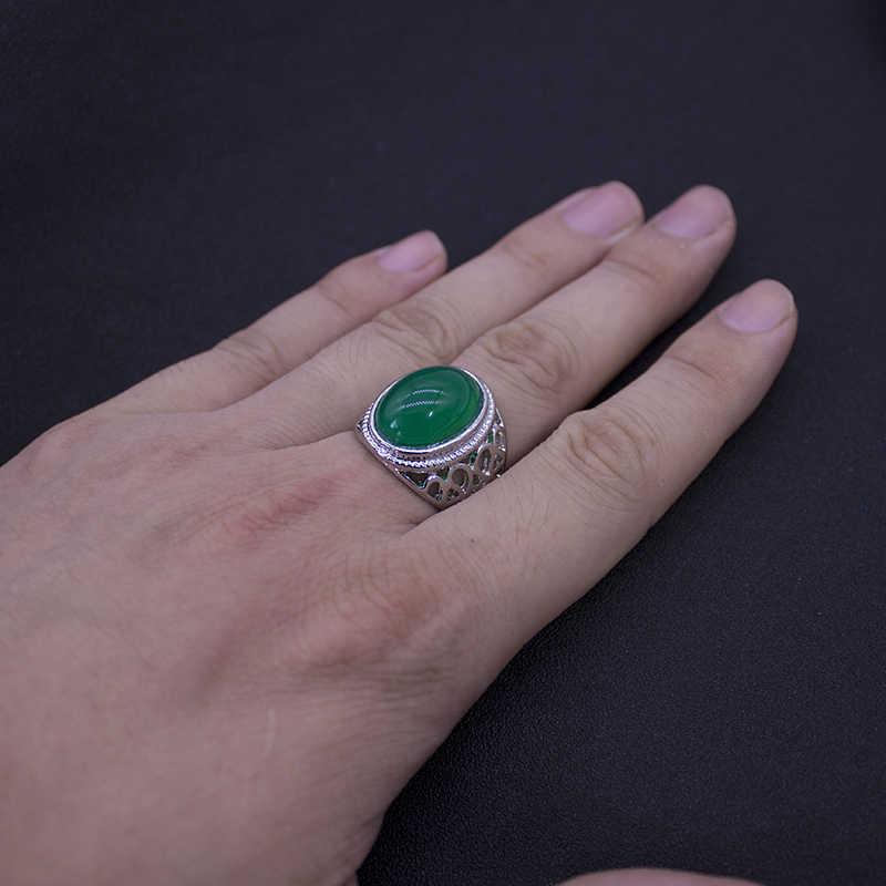 Vintage Retro หินสีเขียวแหวนแฟชั่นเครื่องประดับโลหะหมั้นแหวนสำหรับของขวัญผู้หญิง