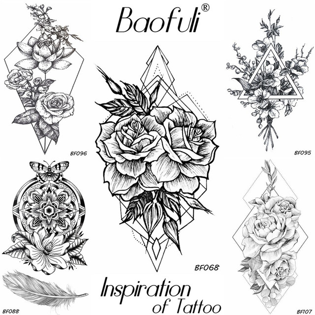 Baofuli Geometric Diamond Rose Temporary Tattoo Sketch Crystal