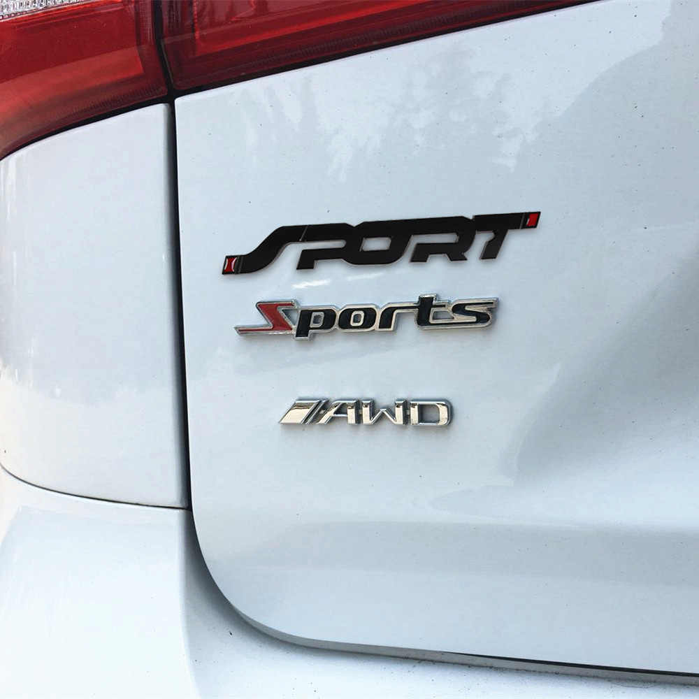 Logam 3D Chrome Stiker Perak/Hitam Bagasi Mobil Mobil Balap Olahraga Kata Huruf Logo Emblem Lencana Decal Stiker Mobil styling