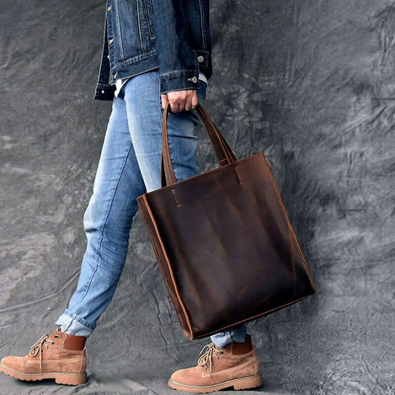 AETOO RClassic europejski i amerykański styl ręcznie robione skórzane torba na drobiazgi mężczyzn i kobiet torebka duża skórzana torba na zakupy w Torby z uchwytem od Bagaże i torby na  Grupa 3