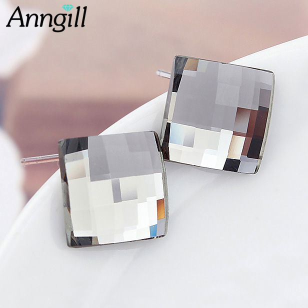 ANNGILL Classic Popular Genuine 100% Crystals from Swarovski Square Stud Earrings Wholesale Fashion Jewelry