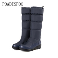 POADISFOO 2017 Women Winter Knee High Boots Casual Winter Down Snow Boots Popular Round Toe Slip