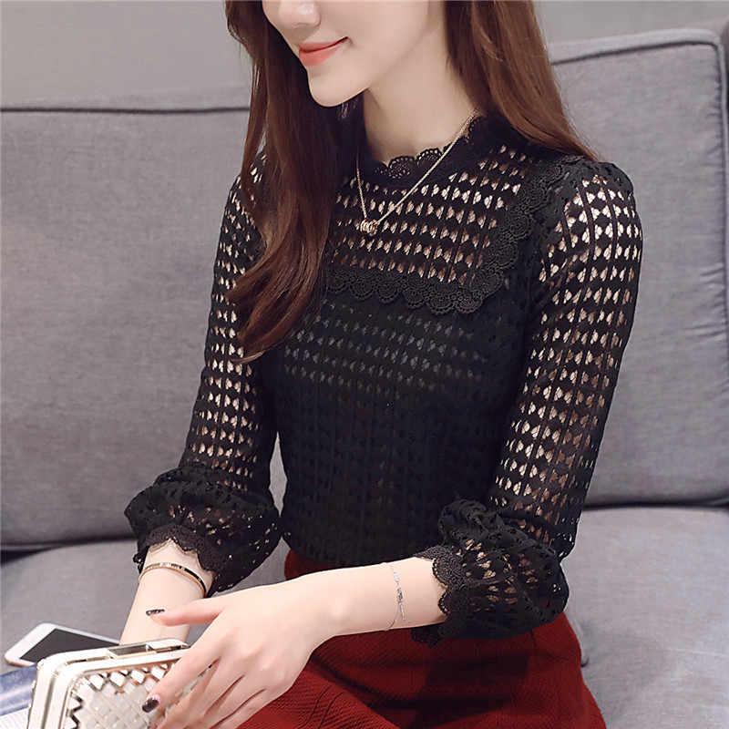 Бесплатная доставка 2019 новый длинный рукав женские топы кружева o-образным вырезом рукав с оборкой Мода весна коричневый черный женская блузка Блузки 16J
