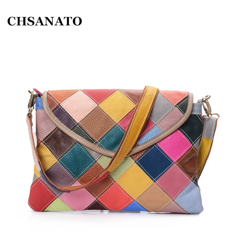 CHSANATO Women Clutch Bag Genuine Leather Evening Bags Colorful Crossbody Messenger Bag Female Shoulder Bags Envelope