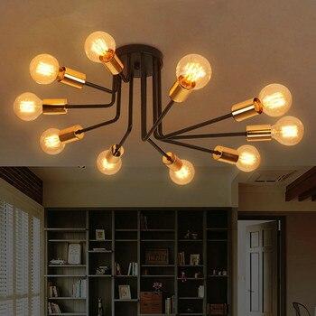 אמריקאי רטרו יצירתי אישיות מסעדת תקרת מנורת פשוט מודרני מחקר חדר שינה סלון קפה ברזל מנורת משלוח חינם