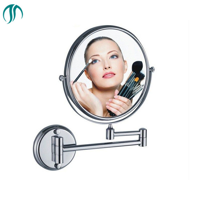 Bathroom Mirror Round Base Wall Mounted Extending Folding Cosmetics Mirror Wall Mounted Magnifier Double Side Makeup