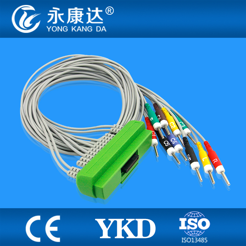 Nihon Kohden 9320/BR-911D ekg cable with 10 leads Din 3.0, 20K resistor, medical equipment cardiofax gem ekg 9022 k