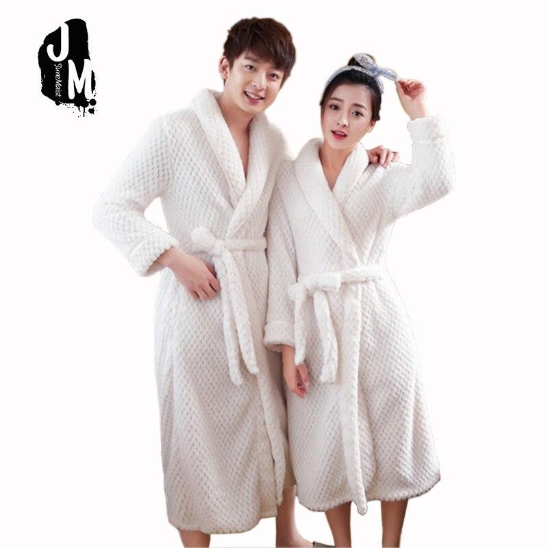 100% corail polaire Couples peignoir épais flanelle peignoir hiver automne Terry femmes coton Robe hommes longue robe de nuit Kimono