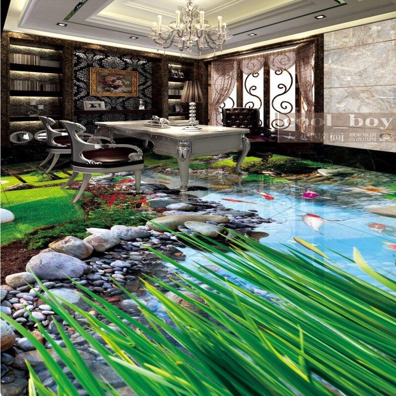 Free Shipping 3d small lotus flowers grass wood floor wallpaper bathroom kitchen office floor mural цены онлайн