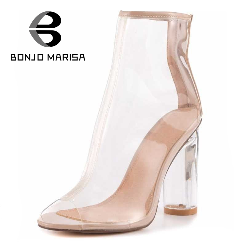 ФОТО BONJOMARSIA 2017 Fashion Women Transparent High Heel Less Platform Summer Boots Woman Zip Open Toe Genuine Leather Shoes