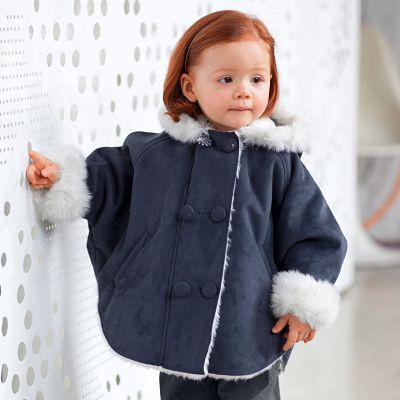 2015 nova Outono roupa dos miúdos do bebê meninas casaco azul marinho cor princesa tipo cape hoodiess outerwear para o bebê 4-24 meses
