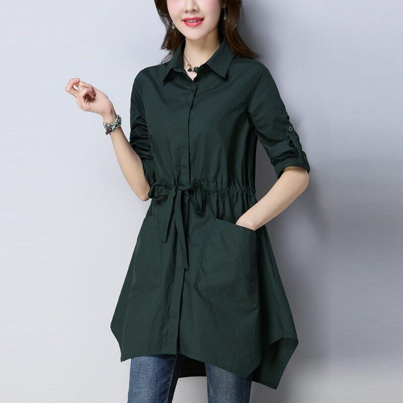 2018 Coréen Dark 4xl Nouvelles vent Colour caramel Femme breasted Trench Irrégulière Printemps Green Coupe Plus Femmes Automne Taille La Single zwE8g