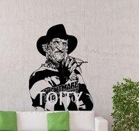 Freddy Krueger Sticker Maniaque Cauchemar Elm Street Vinyle Autocollant Mural Film D'horreur Film Affiche Home Decor Mur