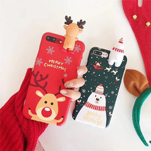Happy New Year 2018 Cute 3D Papa Elk Soft Silicone Protective Shell For iPhone 7 7Plus Merry Christmas Phone Cases For iPhone8 X