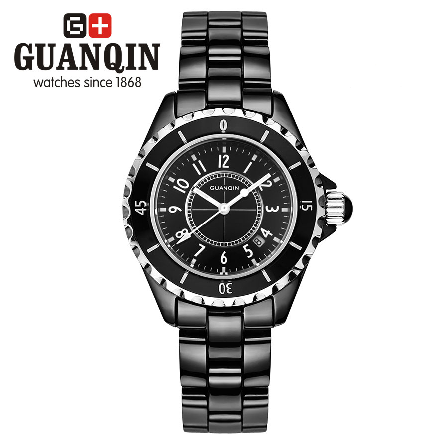 GUANQIN GQ90002 J12 series Luxury Brand Women font b watches b font ladies black ceramic Diamonds