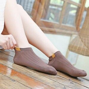 Image 4 - Chaussettes courtes en coton pour femmes, 10 paires/ensemble, chaussettes dété, couleur unie, motif petit ours, taille 35 39, décontracté