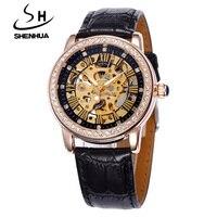 Shenhua Reloj Mecánico Mujeres Famosa Marca de Oro Rosa caliente Skeleton Mismo-Viento Automático Relojes de Moda Rhinestone Señoras de Los Relojes