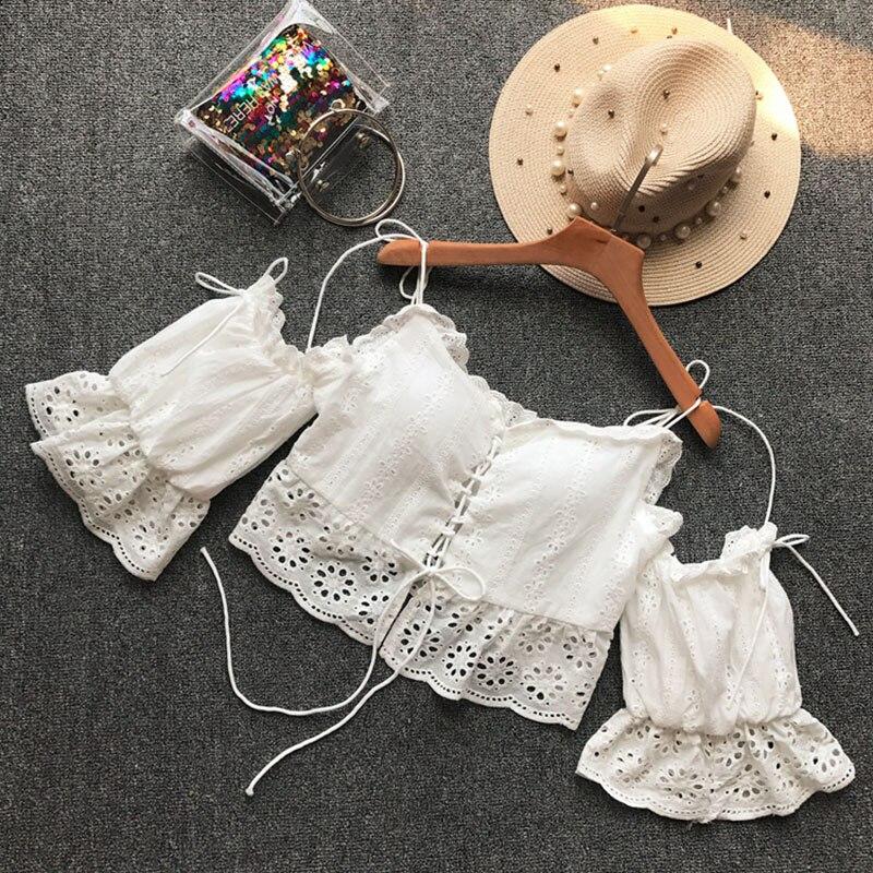 2019 été plage style hors épaule femmes blouse blanc dentelle sexy sangle volants slash cou courtes chemises outwear hauts