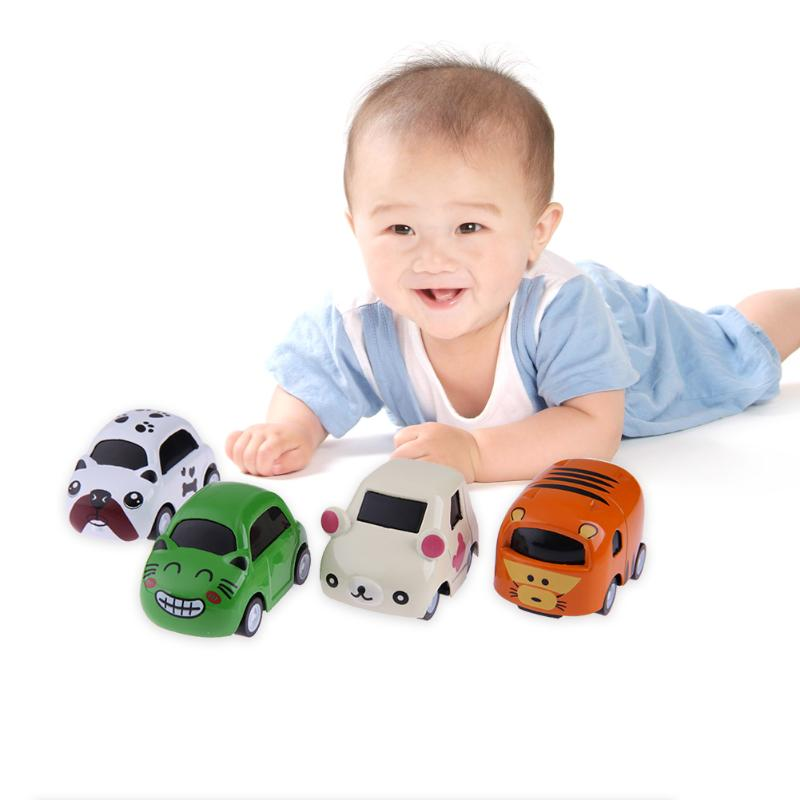 4pcs Mini Cartoon Alloy Car Model Home Kids Puzzle Vehicle Model Educational Learning Toy Children Birthday Christmas Gifts