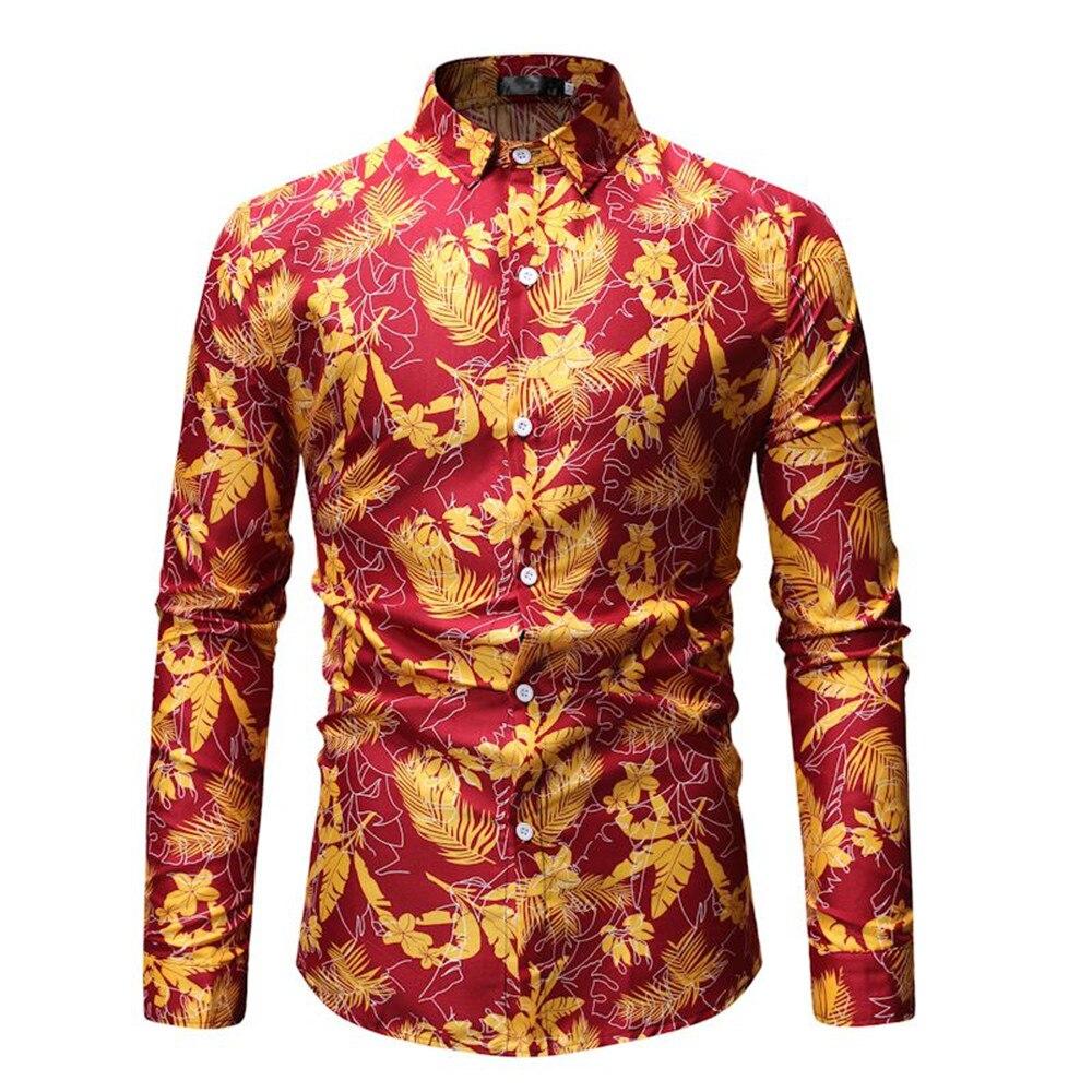 Männer Langarm Shirts Vintage Floral Tops Drehen-unten Kragen Frühling Warme Kleidung Lose Blusa Für Europa Mann Gentleman Abendessen Tragen Gute QualitäT