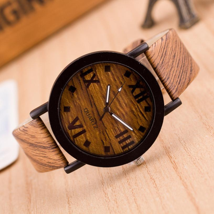 Fashion Wrist Watches For Lovers Leather Roman Numerals Wood Leather Band Analog Quartz Vogue Wrist Watches Men Women Watch 50p
