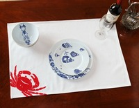 Wholesale Table Napkin Cotton Embroideried Red Crab IKEA Restaurant Hotel Home 70 50cm