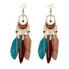 Handmade Colorful Enamel Feather Tassel Earrings for Women Bohemian Long Tassel Drop Earring Indian Feather Earings Jewelry 2019 цена в Москве и Питере
