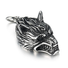 New 1pcs Norse Vikings Pendant Necklace Norse Wolf Head Necklace Original Animal Jewelry Wolf Head hange