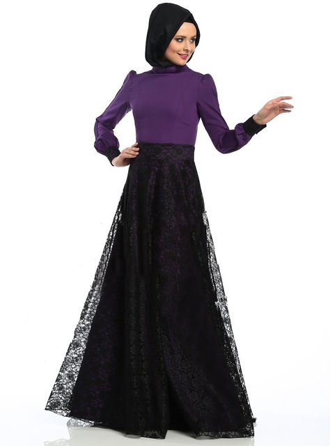 74c6a11febd4 fancy purple and black islamic dress with veil dubai kaftan abaya jalabiya  long sleeve lace prom party dress evening gown hijab