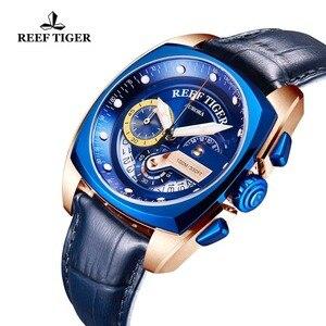 Image 3 - 2020 שונית טייגר/RT למעלה מותג ספורט שעונים לגברים יוקרה כחול שעונים עור רצועת שעון עמיד למים Relogio Masculino RGA3363