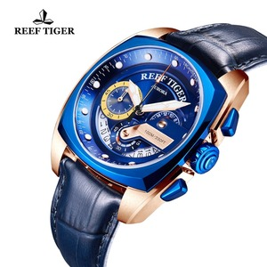 Image 3 - 2020 Reef Tiger/RT Top Brand Sport Watch for Men Luxury Blue Watches Leather Strap Waterproof Watch Relogio Masculino RGA3363