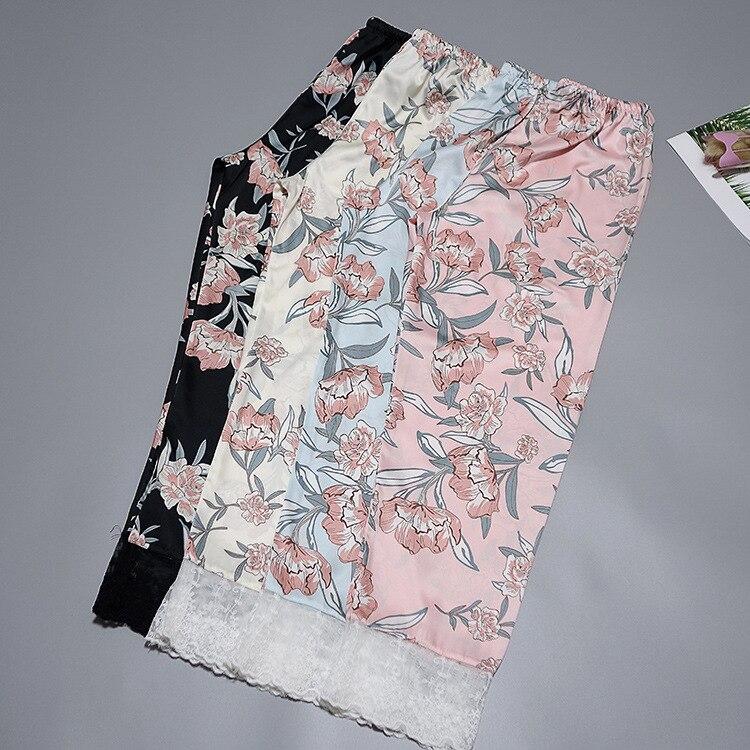 Женские Сатиновые брюки Daeyard, шелковые брюки с цветочным принтом и эластичной резинкой на талии для сна на весну и лето