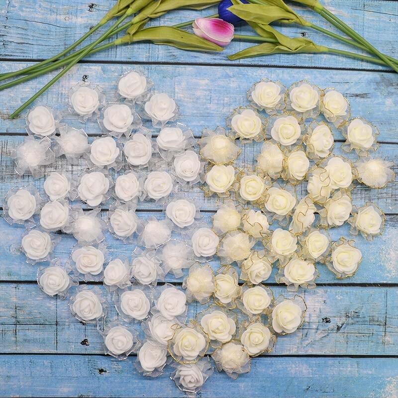1Packs 4cm Foam Rose Artificial Silk Flower Heads For DIY Wreath Decorative Craft Scrapbooking Supplies Wedding Party Decoration