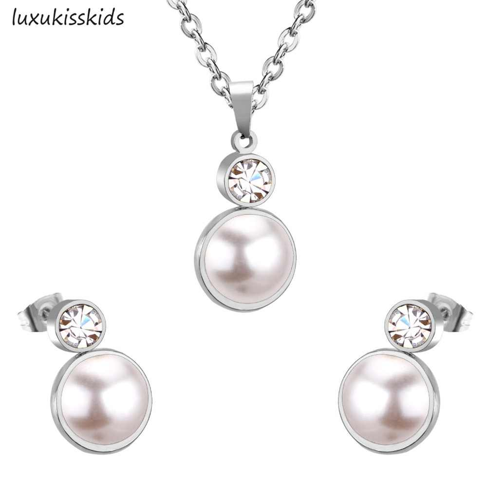 LUXUKISSKIDS Top 316L Stainless Steel Fake Pearl Pendant Necklace Small Stud Earring Zircon Wedding Jewelry Sets For Women Girl
