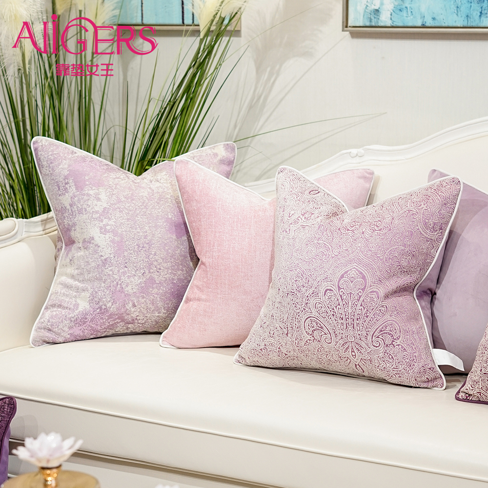 Avigers Cushion Covers Pink Pillows Decorative Jacquard Cases Throw Pillowcases for Sofa Bedroom Living Room Car