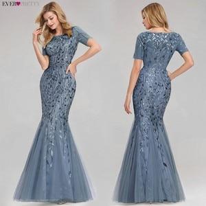 Image 4 - Plus Kích Thước Váy Đầm Dạ Dài Bao Giờ Xinh Mới Bụi Xanh Dương Ngủ Cổ Chữ V Viền Mùa Hè Giá Rẻ Chính Thức Bầu 2020 Áo Dây Soiree Dubai