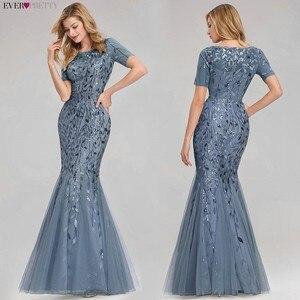 Image 4 - Plus tamanho vestidos de noite longo sempre bonito novo azul empoeirado sem mangas com decote em v baratos verão vestidos formais 2020 robe soiree dubai