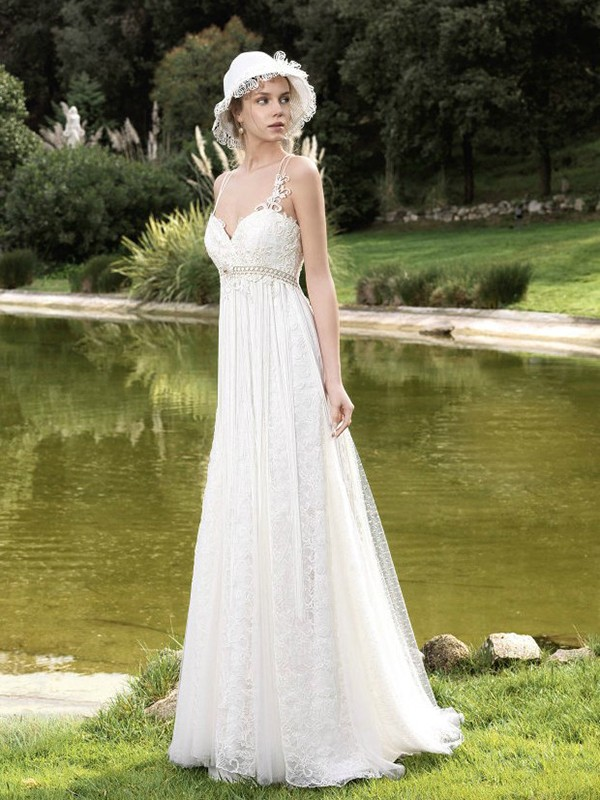 Cecelle 2016 Vintage Lace Tulle A Line Boho Wedding Dresses Sweetheart Spaghetti Straps Empire Waist Informal Bridal Gowns New In From