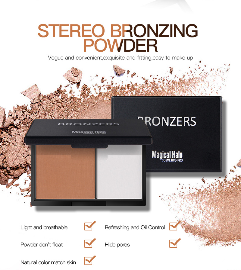 Magical Halo 2 Colors Contouring Palette Highlighter Bronzer Powder Makeup Shading Powde ...