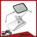Chrome Motorcycle Mirror Rectangle Moto Racing Bike Chopper Cafe Rearview Mirrors Handlebar Side Mirror 10mm Thread Universal
